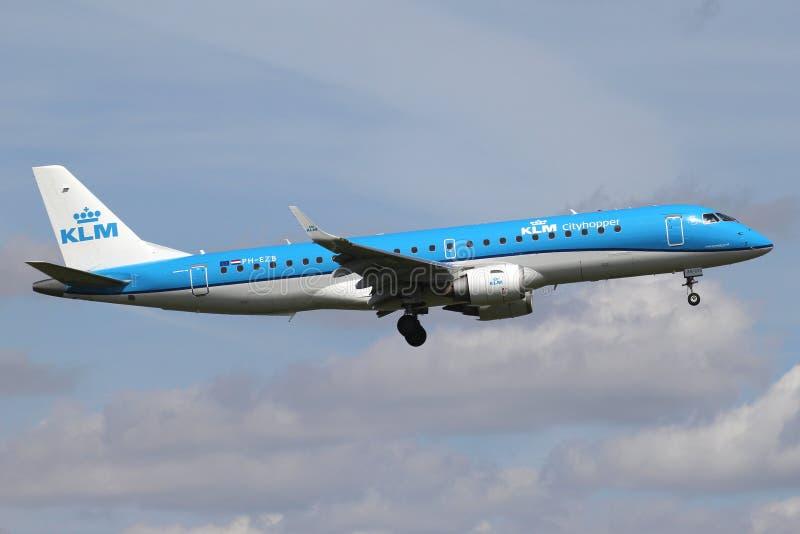 KLM cityhopper Embraer ERJ-190 stock photography