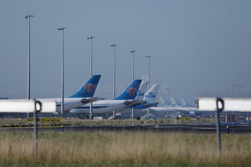 KLM hyvlar på slutliga portar i den Schiphol flygplatsen, Nederländerna arkivbilder