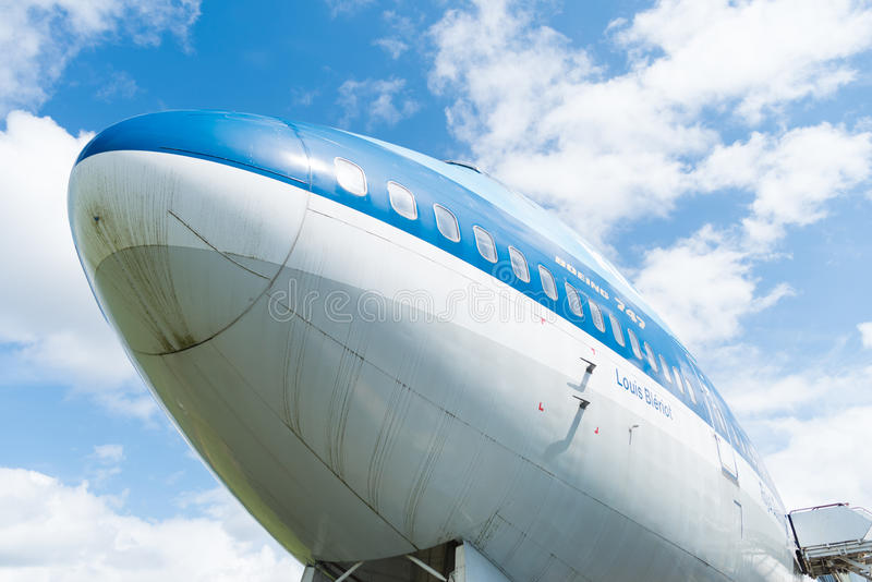 KLM 747 jumbo jet. LELYSTAD, NETHERLANDS - MAY 15, 2016: Low angle view of a blue KLM 747 jumbo jet at the aviodrome aerospace museum at lelystad airport stock photo