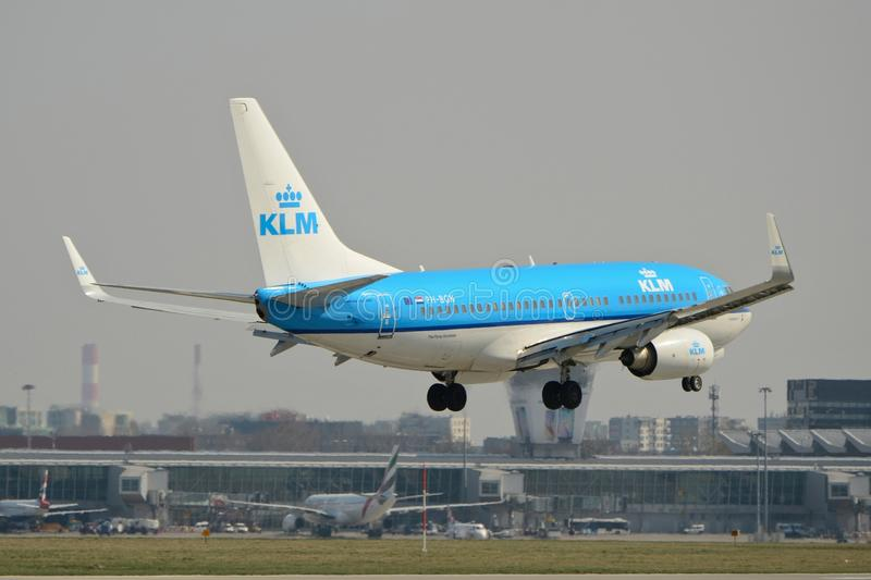 KLM plane Boeing 737-700. This is a view of KLM plane Boeing 737-700 registered as PH-BGN on the Warsaw Chopin Airport. April 11, 2015. Warsaw, Poland stock image