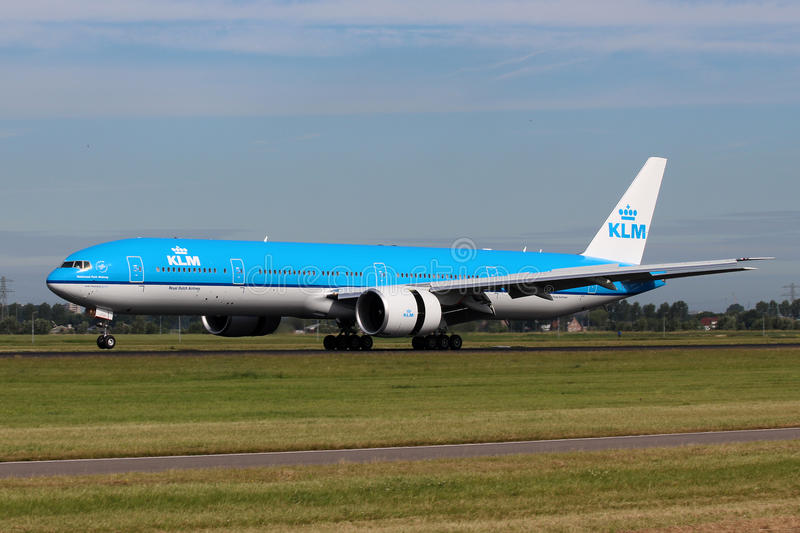 KLM Royal Dutch Airlines Boeing B777-300. AMSTERDAM - JULY 02: KLM Royal Dutch Airlines Boeing B777-300 lands at AMS Airport in Netherlands on July 02, 2012. KLM stock photography