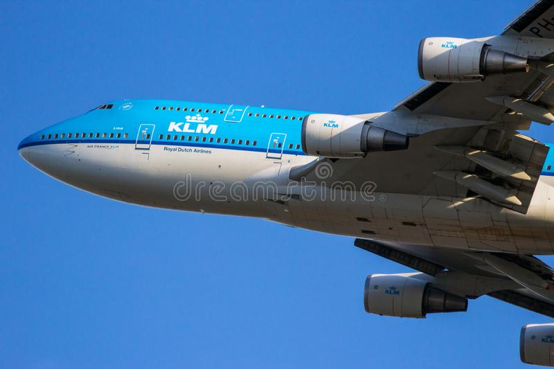 KLM Royal Dutch flygbolagBoeing 747 jumbo - jet arkivfoto