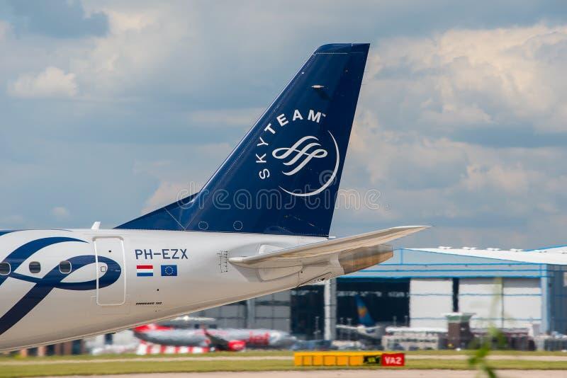 KLM (Skyteam) Cityhopper Embraer ERJ-190 tail stock images