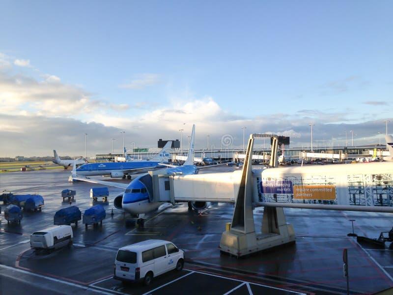 KLM surfacent l'amarrage à l'aéroport d'Amsterdam - Schiphol photo stock