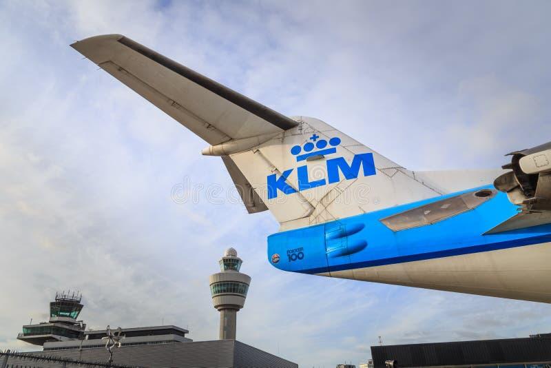 KLM y Schiphol imagenes de archivo