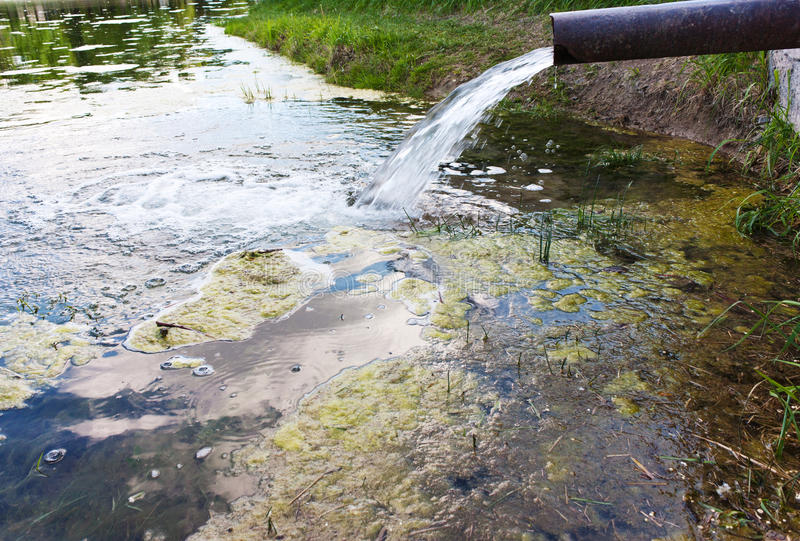 Kloak tömmer in i floden ekologisk miljöfotoförorening för kris royaltyfria bilder