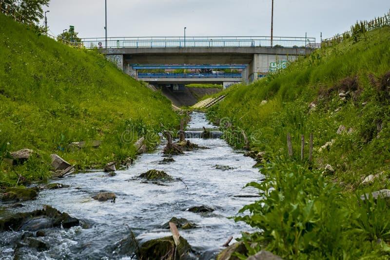 Kloakvatten som flödar in i floden fotografering för bildbyråer