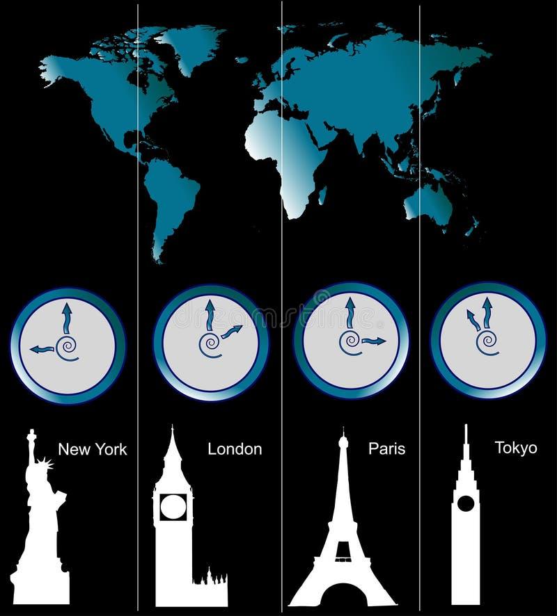 klockaöversiktsvärld royaltyfri illustrationer