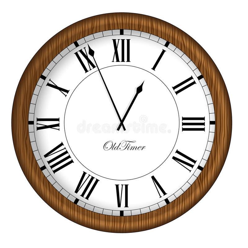 klocka danat gammalt Retro gammal tidmätareklocka i träram stock illustrationer