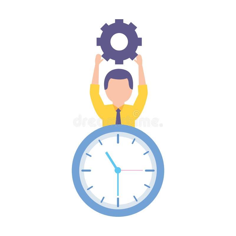 Klocka för affärsmaninnehavkugghjul royaltyfri illustrationer