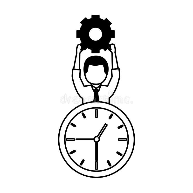 Klocka för affärsmaninnehavkugghjul stock illustrationer