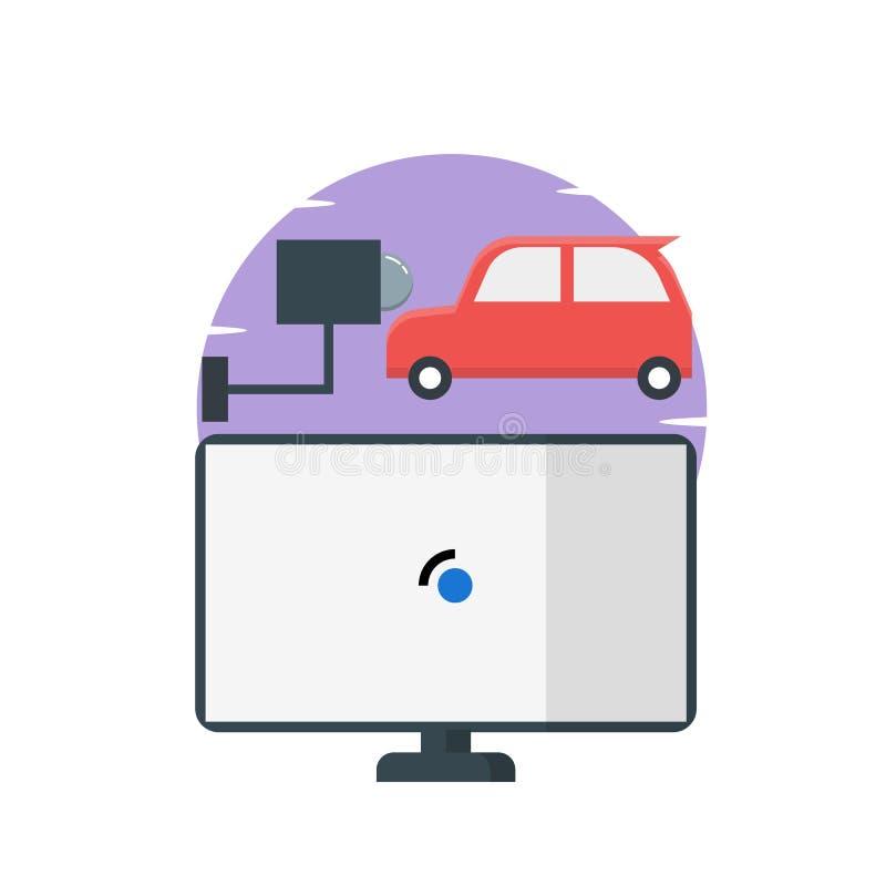 Klocka för CCTV-säkerhetskamera, dator, bilillustration - vektor royaltyfri illustrationer