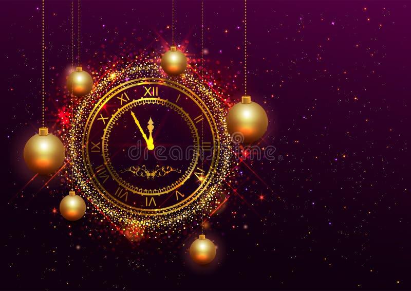 Klocka för helgdagsafton för nytt år guld- med romerska tal royaltyfri illustrationer