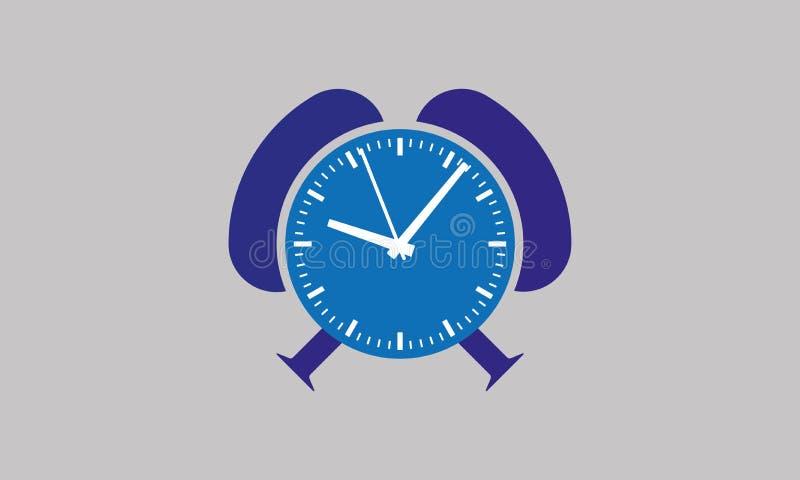 Klocka för vektorTid blått - den hållande ögonen på Tid apparaten - ringklocka vektor illustrationer