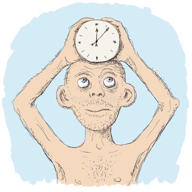 Klocka i hans huvud stock illustrationer