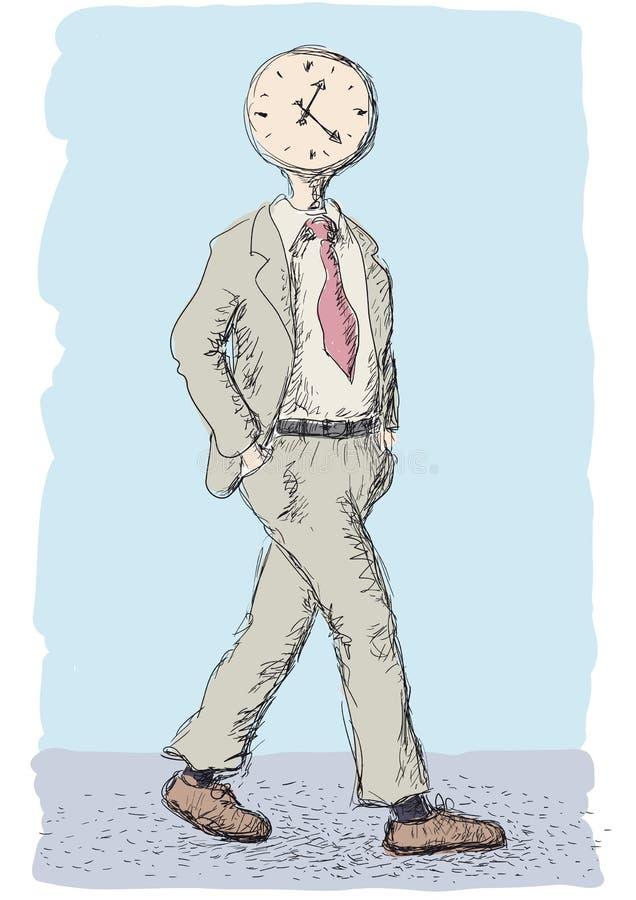 Klocka i hans huvud royaltyfri illustrationer