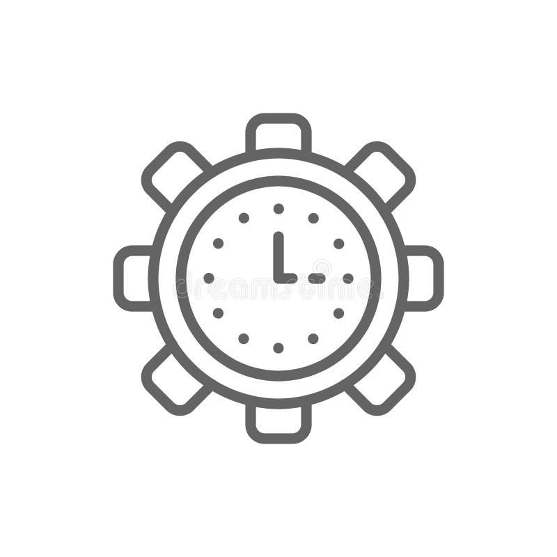 Klocka i kugghjulet, techklocka, produktivitet, effektivitet, linje symbol f vektor illustrationer