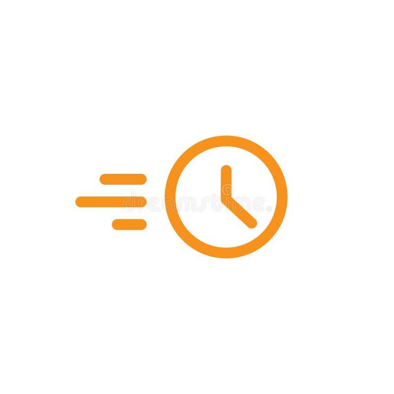 Klocka i rörelselinjen symbol Snabb tid rusningstidlogo Hastighetstidmätaresymbol vektor illustrationer