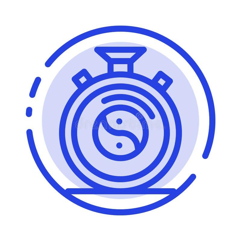 Klocka koncentration, meditation, blå prickig linje linje symbol för övning royaltyfri illustrationer