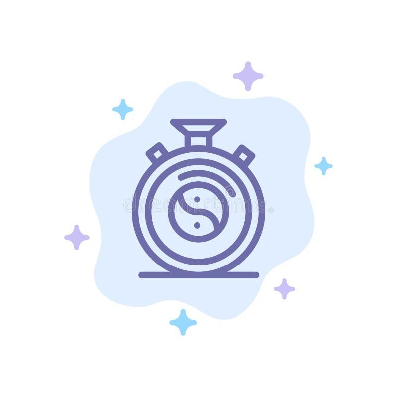 Klocka koncentration, meditation, blå symbol för övning på abstrakt molnbakgrund stock illustrationer