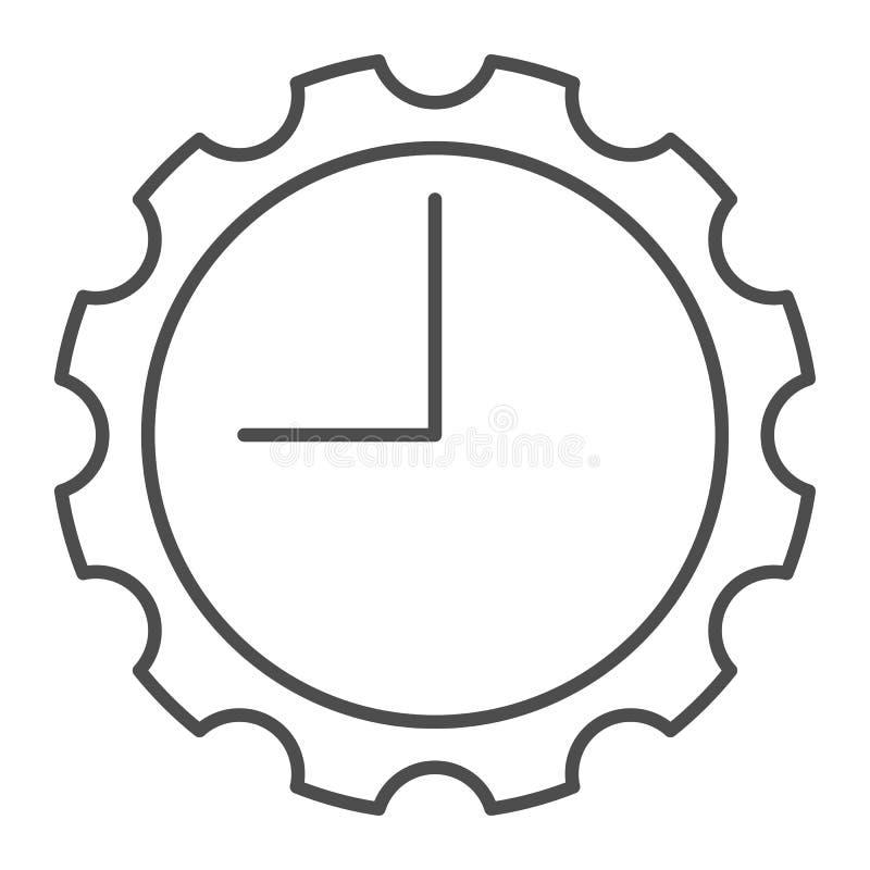 Klocka med den tunna linjen symbol för kugghjul Ta tid på med kugghjulvektorillustrationen som isoleras på vit Mekanisk klockaöve royaltyfri illustrationer
