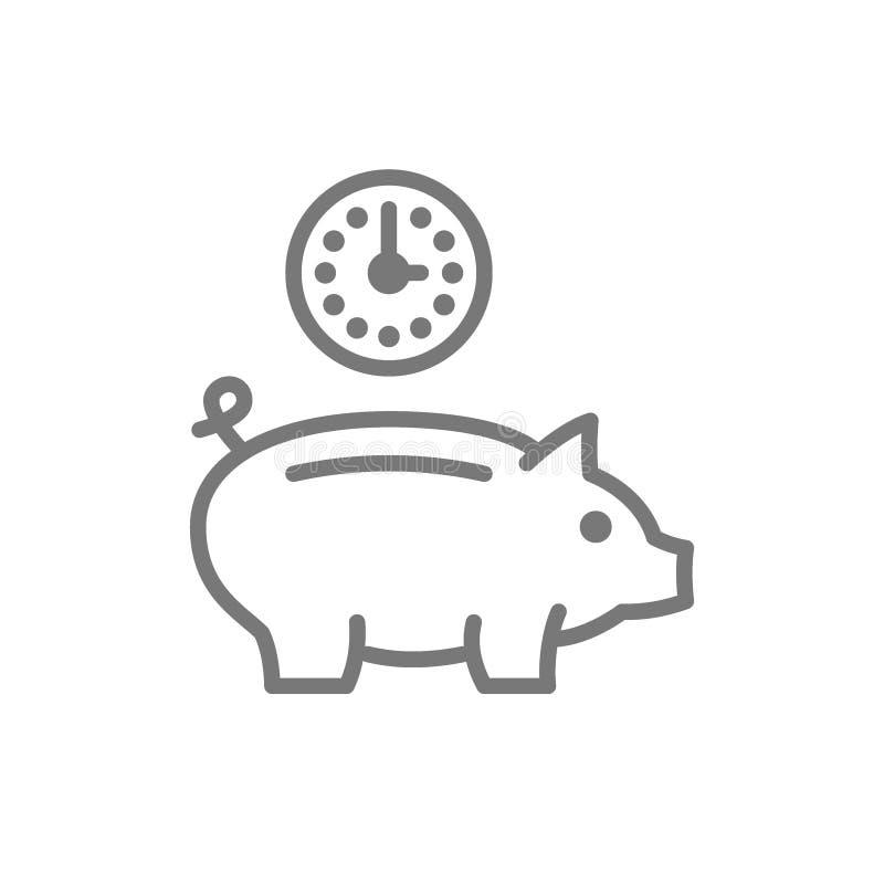 Klocka med spargrisen, investering, skuld, r?ddningtidslinjesymbol vektor illustrationer