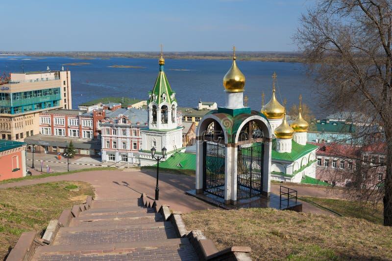 Klocka nära Kreml i Nizhny Novgorod royaltyfria bilder