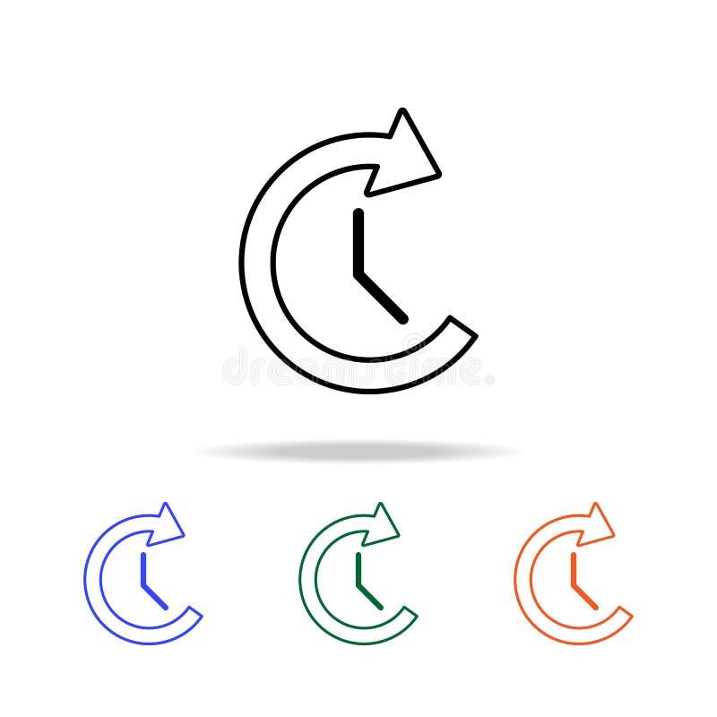 klocka- och cirkulärpilsymbol Beståndsdelar av den enkla rengöringsduksymbolen i mång- färg Högvärdig kvalitets- symbol för grafi royaltyfri illustrationer