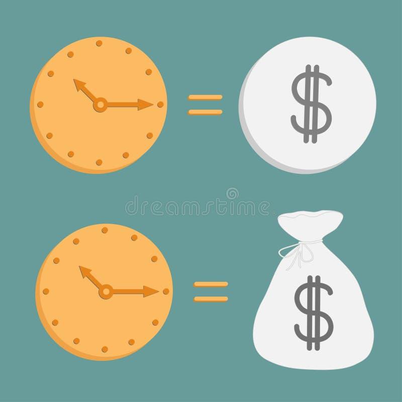 Klocka och dollarmynt och påse. Symboler. Tid är monen stock illustrationer