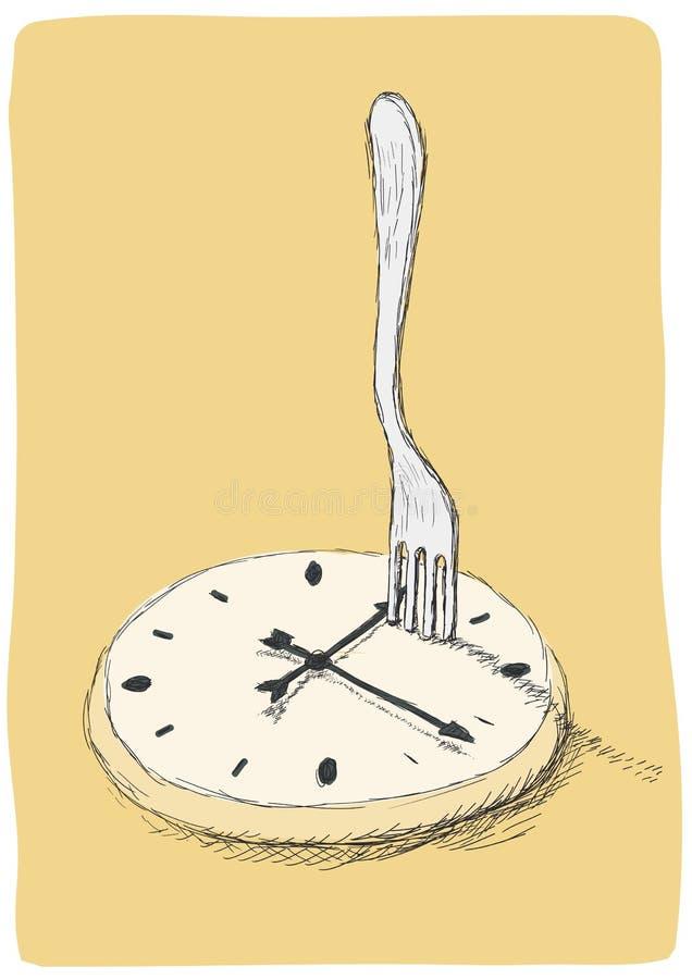 Klocka och gaffel royaltyfri illustrationer