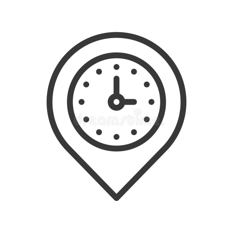 Klocka och stift, ställeläge och tidmätaresymbol, översiktsdesign edi royaltyfri illustrationer