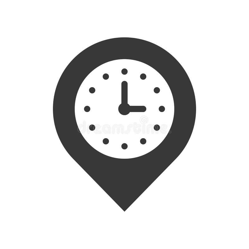 Klocka och stift, ställeläge och tidmätaresymbol, perfekt PIXEL royaltyfri illustrationer