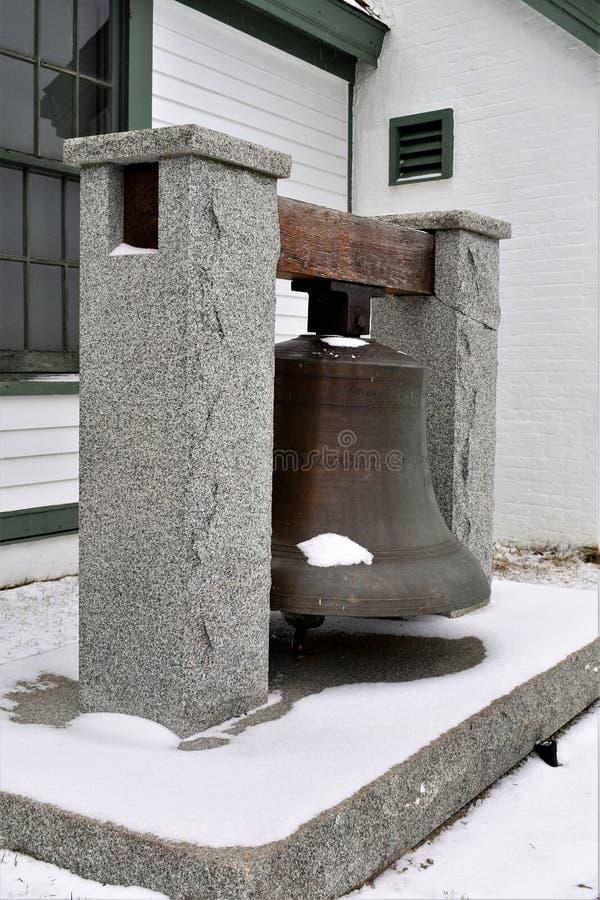 Klocka på fortet Williams Park nära Portland huvudljus, udde Eiizabeth, Cumberland County, Maine, Förenta staterna New England royaltyfria foton