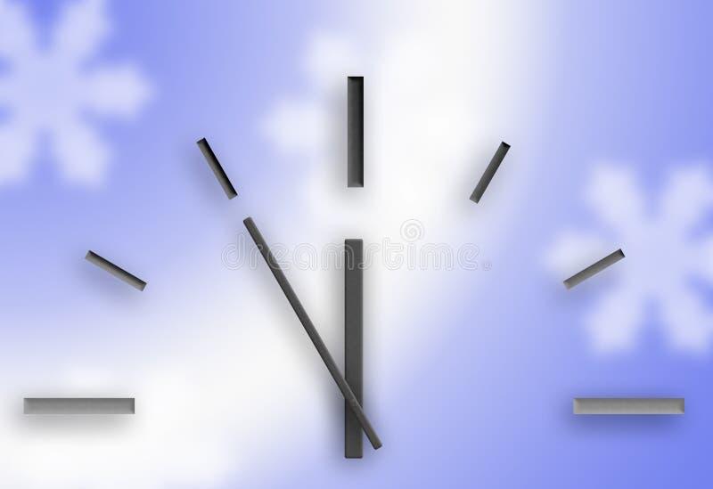 Klocka p? en bl? bakgrund Jul stock illustrationer