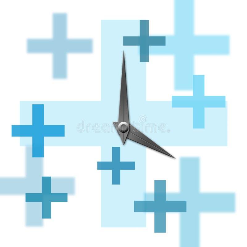klocka plus symbol royaltyfri illustrationer