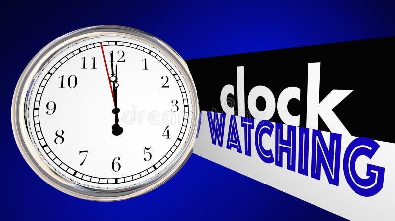 Klocka som håller ögonen på uttråkade långsamma Tid bortgångord stock illustrationer