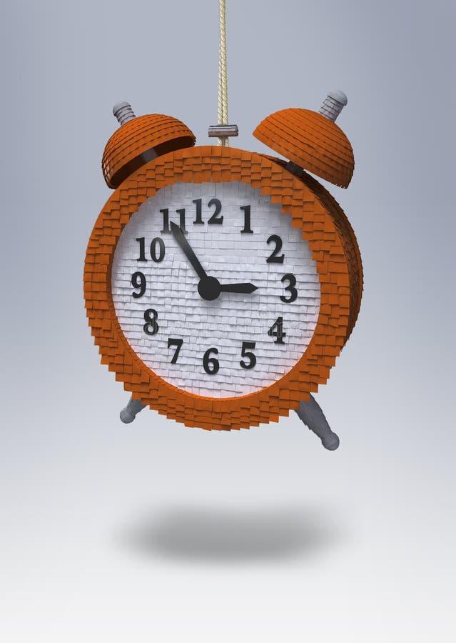 Klocka som ska brytas på födelsedagpartiet royaltyfri illustrationer
