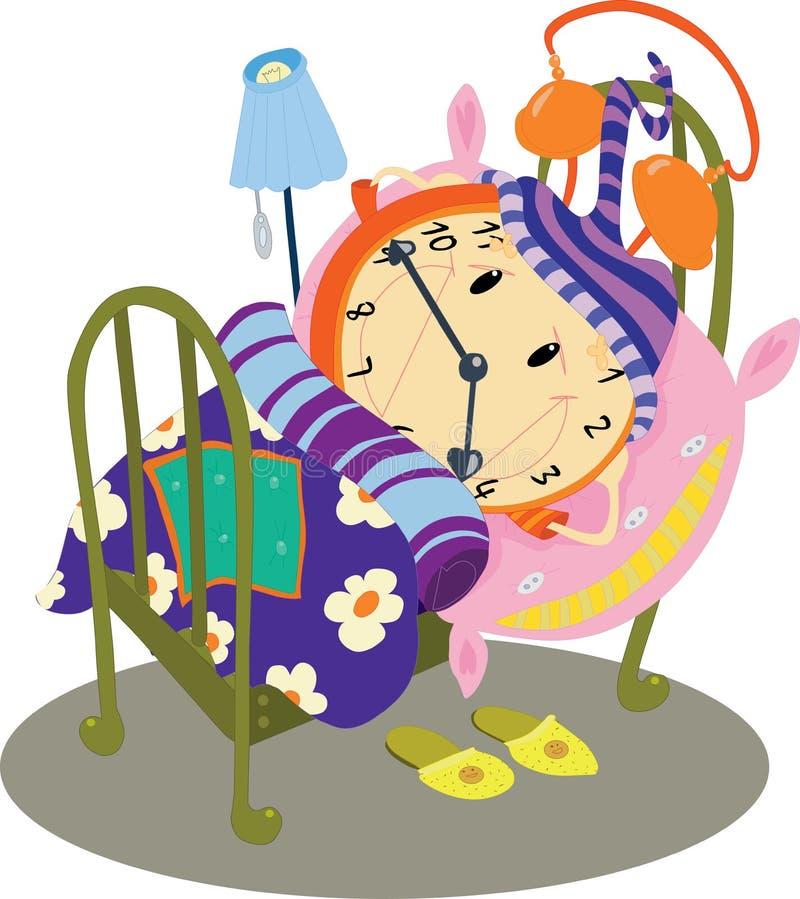 Klocka Som Sover I Sängen Royaltyfri Foto