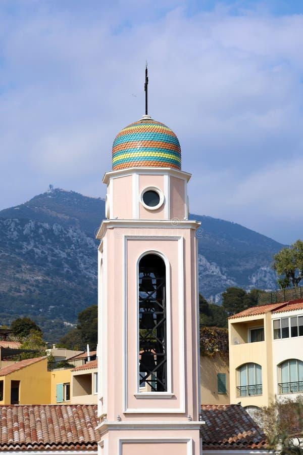 Klocka torn av helgonet Nicholas Church In Monaco fotografering för bildbyråer
