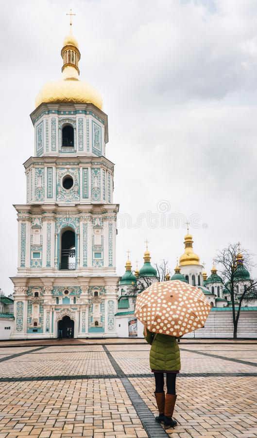Klocka torn av St Sophia Cathedral, Kiev, Ukraina royaltyfri foto