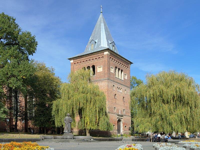Klocka torn och monument av Yuriy Drohobych i Drohobych, Ukraina fotografering för bildbyråer