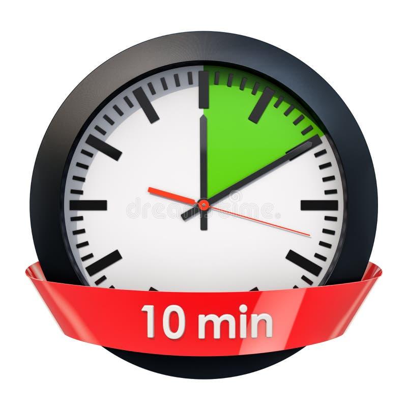 Klockaframsida med den 10 minuter tidmätaren framförande 3d royaltyfri illustrationer