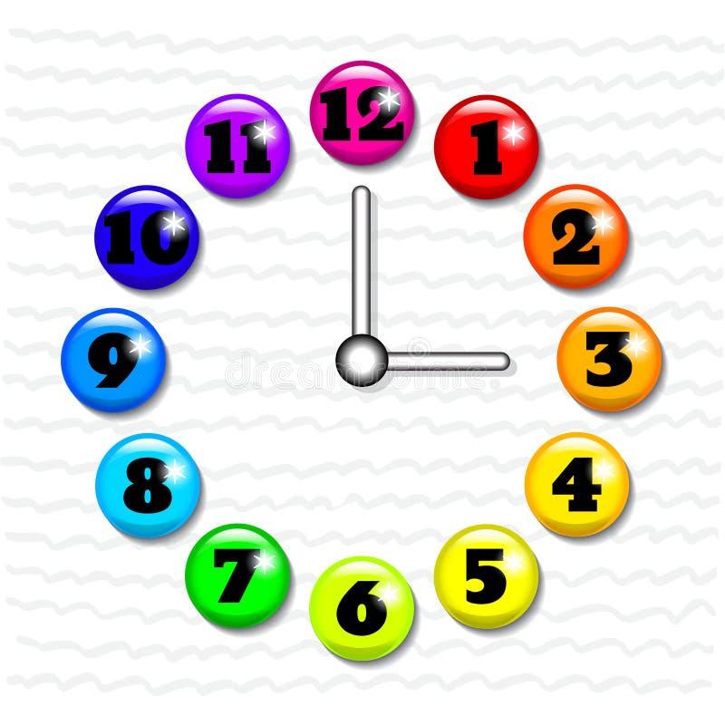 Klockaframsida med glass knappar för volym royaltyfri illustrationer