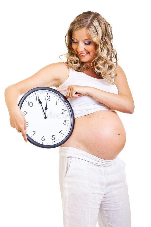 Download Klockagravid kvinna fotografering för bildbyråer. Bild av klocka - 19778083