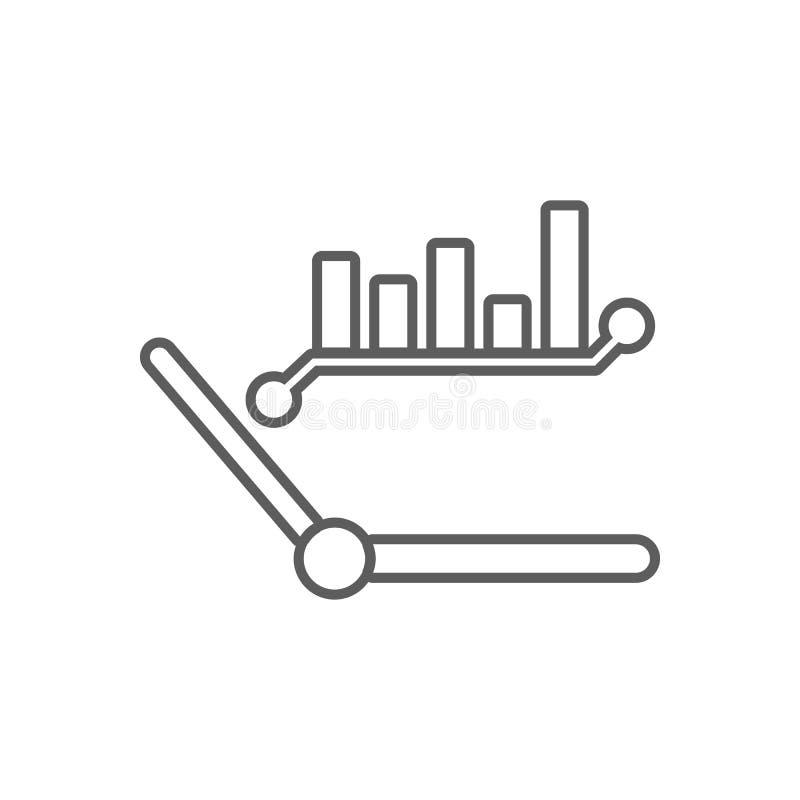 klockahänder och diagramsymbol Beståndsdel av finans för mobilt begrepp och rengöringsdukappssymbol Översikt tunn linje symbol fö royaltyfri illustrationer