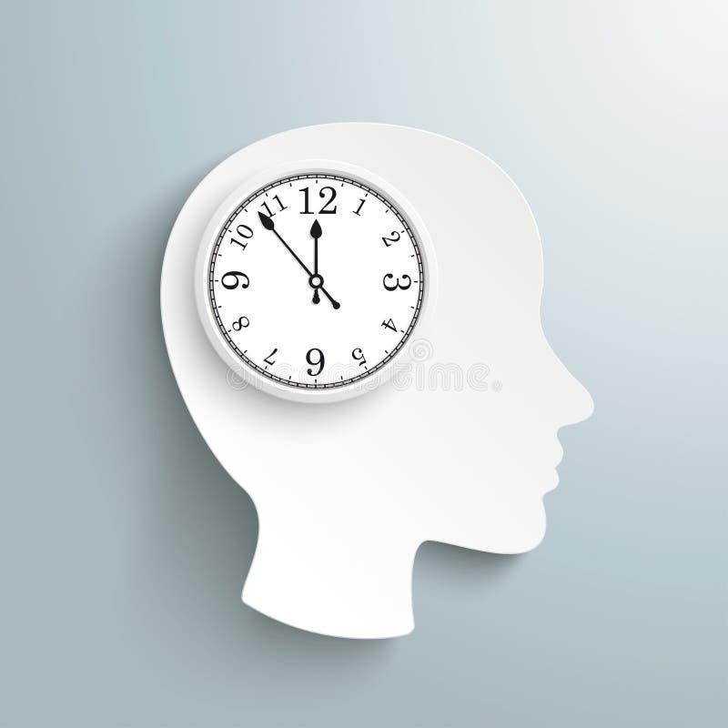 Klockahjärna för mänskligt huvud vektor illustrationer