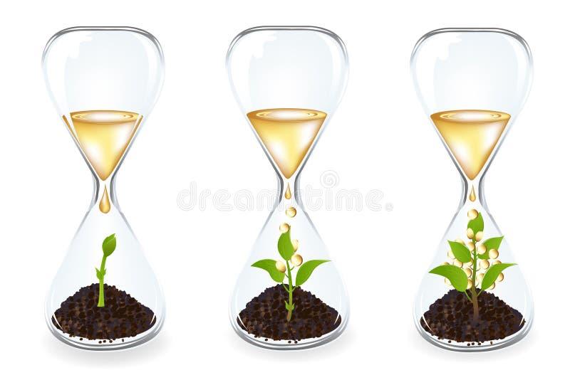 klockamyntexponeringsglas spirar vektorn stock illustrationer