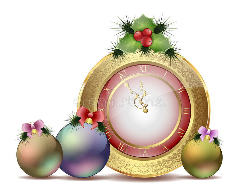 Klockan för det nya året med julgranar och mistel leker med röda pilbågar vektor illustrationer