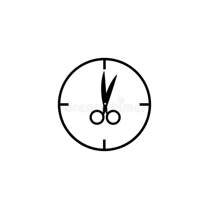 Klockan med sax i st?llet f?r pilar undertecknar En nolla-`-klocka royaltyfri illustrationer