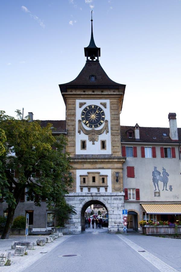 klockan murten det switzerland tornet royaltyfri bild